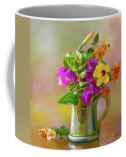 Bougainvilleas In A Green Jar. Coffee Mug