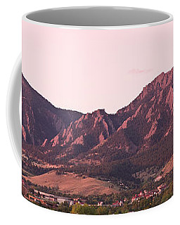Boulder Colorado Flatirons 1st Light Panorama Coffee Mug by James BO  Insogna