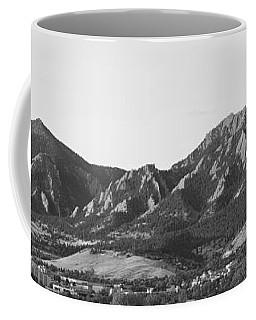 Boulder Colorado Flatirons And Cu Campus Panorama Bw Coffee Mug