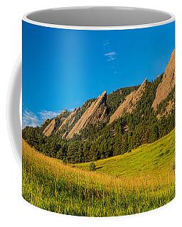 Boulder Colorado Flatirons Sunrise Golden Light Coffee Mug
