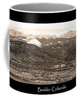 Boulder Colorado Sepia Panorama Poster Print Coffee Mug
