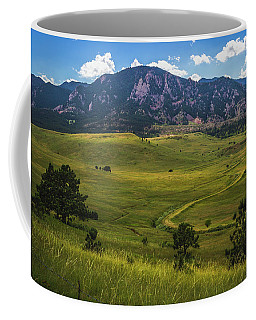 Coffee Mug featuring the photograph Boulder Flatirons by Andy Konieczny
