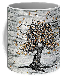Coffee Mug featuring the drawing Boulder Love Tree by Aaron Bombalicki