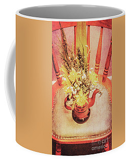 Bouquet Of Dried Flowers In Red Pot Coffee Mug