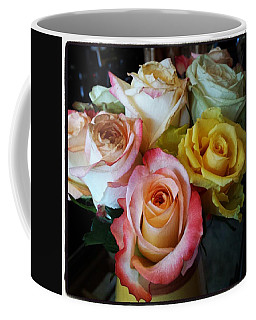Coffee Mug featuring the photograph Bouquet Of Mature Roses At The Counter by Mr Photojimsf