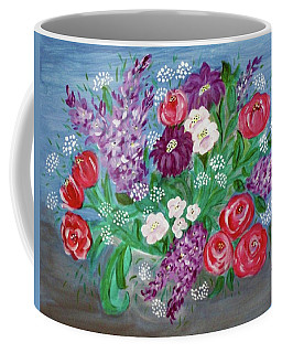Coffee Mug featuring the painting Bowl Of Poisies by Sonya Nancy Capling-Bacle