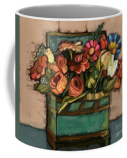 Coffee Mug featuring the painting Box Of Flowers by Carrie Joy Byrnes