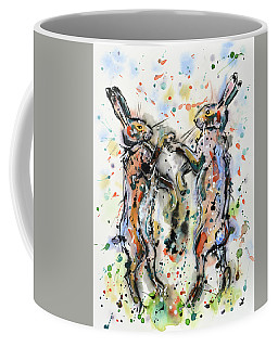 Boxing Hares Coffee Mug by Zaira Dzhaubaeva