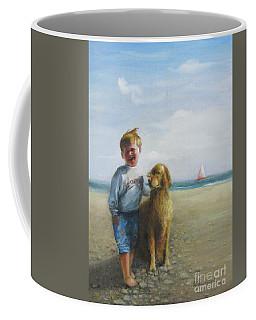 Boy And His Dog At The Beach Coffee Mug by Oz Freedgood