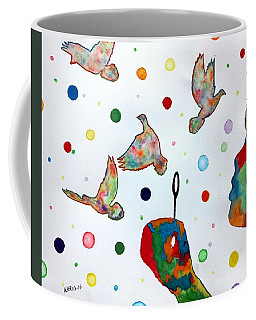 Boy Blowing Soap Bubbles And Doves Coffee Mug by Edwin Alverio