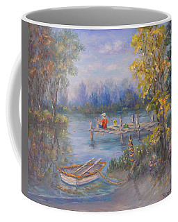 Boy Fishing On Dock And Boat On Lake Coffee Mug