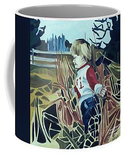 Boy In Grassy Field Coffee Mug