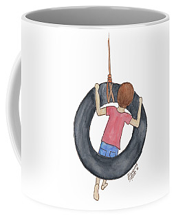 Coffee Mug featuring the painting Boy On Swing 1 by Betsy Hackett