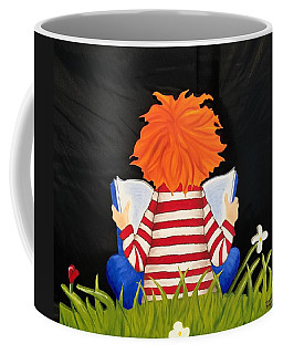 Boy Reading Book Coffee Mug