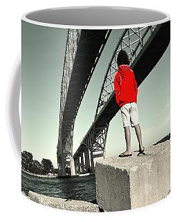 Boy Under Bridge Coffee Mug