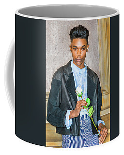 Coffee Mug featuring the photograph Boy With White Rose 15042618 by Alexander Image