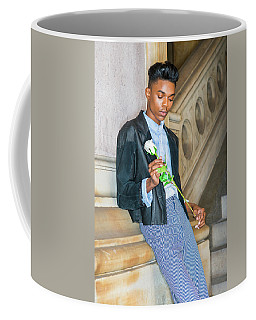 Coffee Mug featuring the photograph Boy With White Rose 15042622 by Alexander Image
