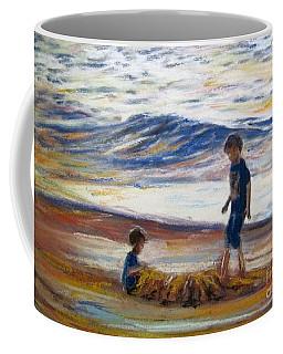 Boys Playing At The Beach Coffee Mug