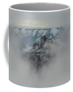 Coffee Mug featuring the photograph Brahma Temple In A Sea Of Clouds by Gaelyn Olmsted