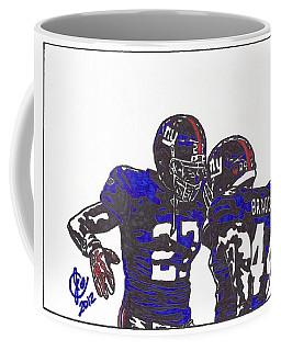 Coffee Mug featuring the drawing Brandon Jacobs And Ahmad Bradshaw by Jeremiah Colley
