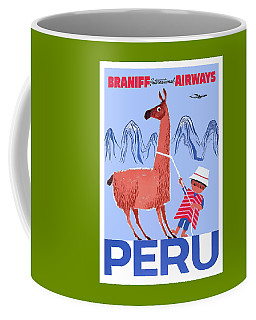 Braniff Airways Peru Child And Llama Travel Poster Coffee Mug
