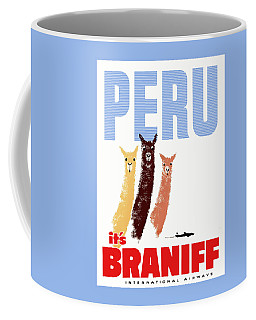 Braniff Airways Peru Llamas Travel Poster Coffee Mug