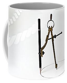 Brass Compass And Pencil Coffee Mug