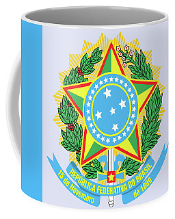 Coffee Mug featuring the drawing Brazil Coat Of Arms by Movie Poster Prints