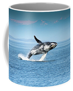 Breaching Humpback Whales Happy-4 Coffee Mug