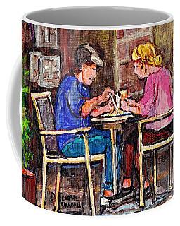 Breakfast At The Bistro Paris Style Cafe Original Quebec Art Carole Spandau Coffee Mug