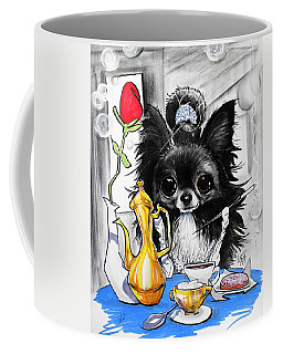 Breakfast At Tiffany's Papillon Caricature Art Print Coffee Mug