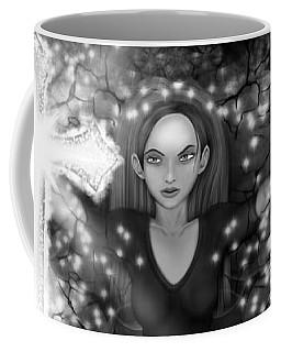 Breaking Through Darkness - Black And White Fantasy Art Coffee Mug