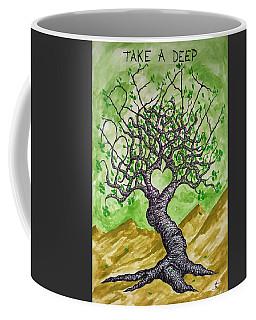 Coffee Mug featuring the drawing Breathe Love Tree by Aaron Bombalicki