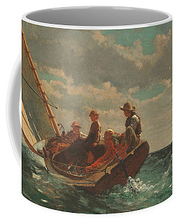 Coffee Mug featuring the painting Breezing Up A Fair Wind - 1876 by Winslow Homer