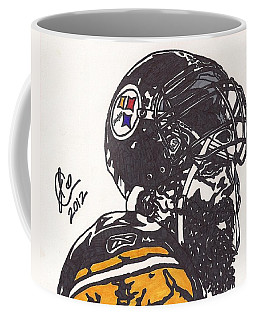Coffee Mug featuring the drawing Brett Keisel by Jeremiah Colley