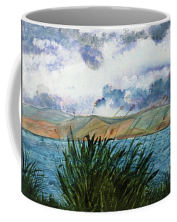 Brewing Storm Over Lake Watercolor Painting Coffee Mug