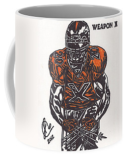 Coffee Mug featuring the drawing Brian Dawkins by Jeremiah Colley