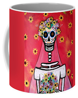 Coffee Mug featuring the painting Bridezilla Dia De Los Muertos by Pristine Cartera Turkus