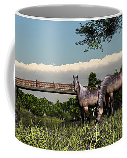Coffee Mug featuring the digital art Bridge And Two Horses by Walter Colvin