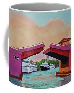 Coffee Mug featuring the painting Bridge At Se 3rd by Deborah Boyd