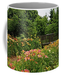 Coffee Mug featuring the photograph Bridge In Daylily Garden by Sandy Keeton