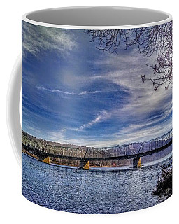 Bridge Over The Delaware River In Winter Coffee Mug