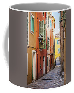 Bright Houses On Old Street In Villefranche-sur-mer Coffee Mug