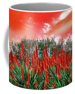 Coffee Mug featuring the photograph Bright Red Aloe Flowers By Kaye Menner by Kaye Menner