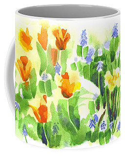 Coffee Mug featuring the painting Brightly April Flowers by Kip DeVore