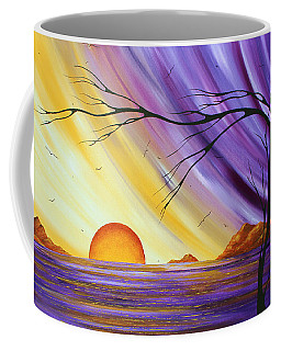 Brilliant Purple Golden Yellow Huge Abstract Surreal Tree Ocean Painting Royal Sunset By Madart Coffee Mug