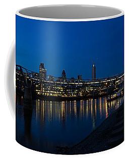 British Symbols And Landmarks - Millennium Bridge And Thames River At Low Tide Coffee Mug