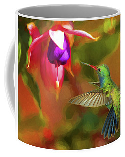 Coffee Mug featuring the photograph Broad-billed Hummingbird And Fuscia by Gregory Scott