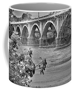Coffee Mug featuring the photograph Gervais Street Bridge Black And White by Lisa Wooten