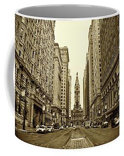 Broad Street Facing Philadelphia City Hall In Sepia Coffee Mug